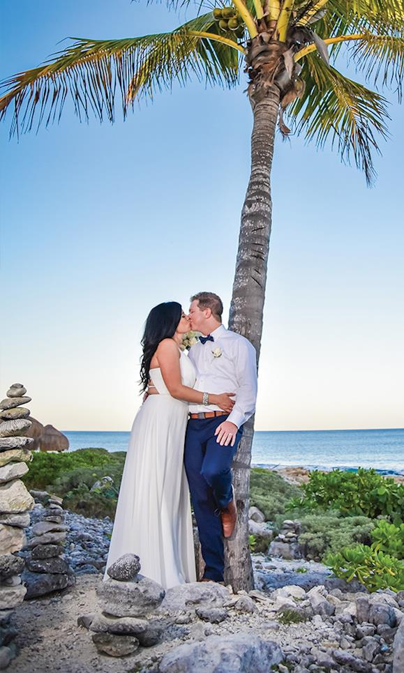 Alexandra Brandon beach wedding palm tree